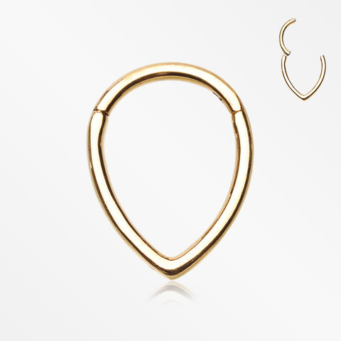Golden Classic Teardrop Seamless Clicker Hoop Ring