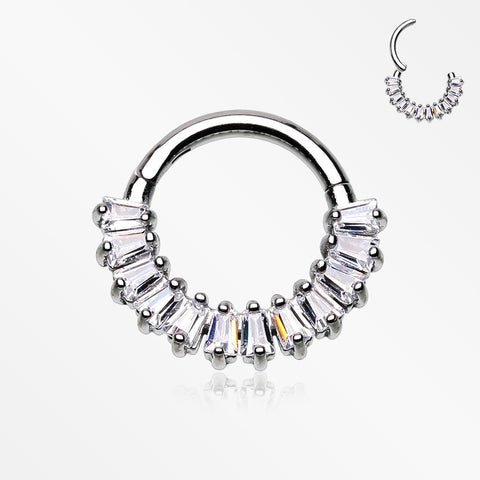 Brilliant Baguette Sparkles Array Seamless Clicker Hoop Ring