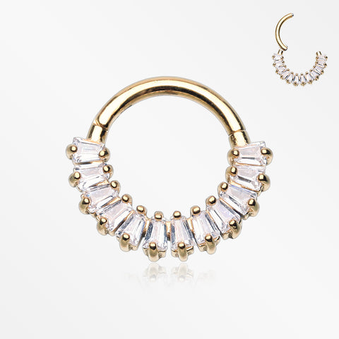Golden Brilliant Baguette Sparkles Array Seamless Clicker Hoop Ring