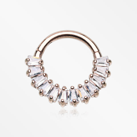 Rose Gold Brilliant Baguette Sparkles Array Seamless Clicker Hoop Ring