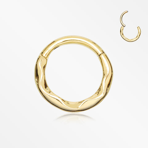 Golden Classic Hammered Wave Seamless Clicker Hoop Ring