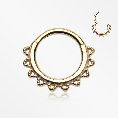 Golden Tribal El Sol Clicker Hoop Ring