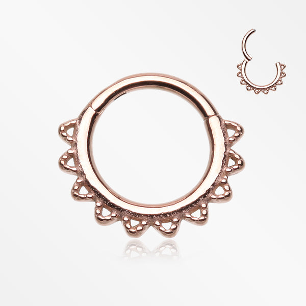 Rose Gold Tribal El Sol Clicker Hoop Ring