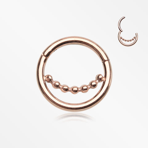 Rose Gold Bali Beads Accent Clicker Hoop Ring