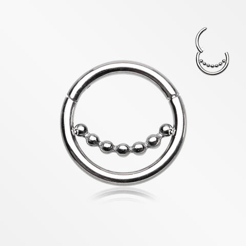 Bali Beads Accent Clicker Hoop Ring