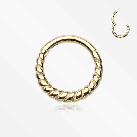 Golden Classic Rope Seamless Clicker Hoop Ring