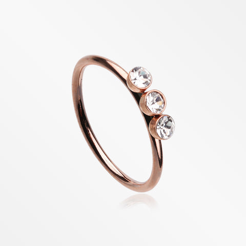 Rose Gold Triple Gem Sparkle Bendable Twist Hoop Ring-Clear