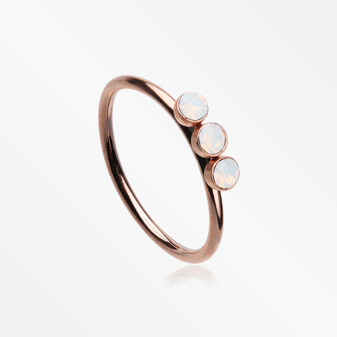 Rose Gold Triple Opalite Sparkle Bendable Twist Hoop Ring-White