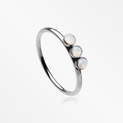 Triple Opalite Sparkle Bendable Twist Hoop Ring-White