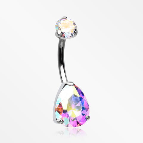Implant Grade Titanium Internally Threaded Teardrop Prong Set Belly Button Ring-Aurora Borealis