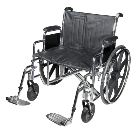 Heavy Duty 24 inch Wide Wheelchair with Removable Swing Away Leg Rest