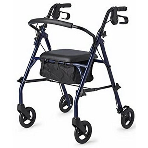 Steel Rollator Walker with 350 lb. Weight Capacity, Blue