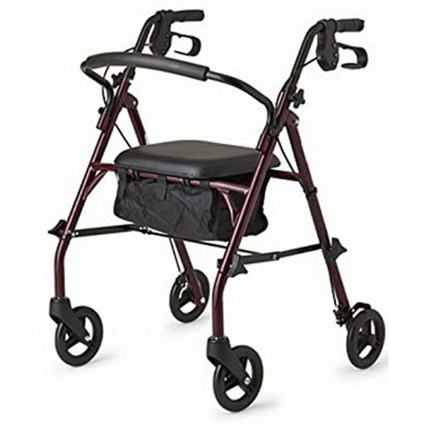 Steel Rollator Walker with 350 lb. Weight Capacity, Burgundy