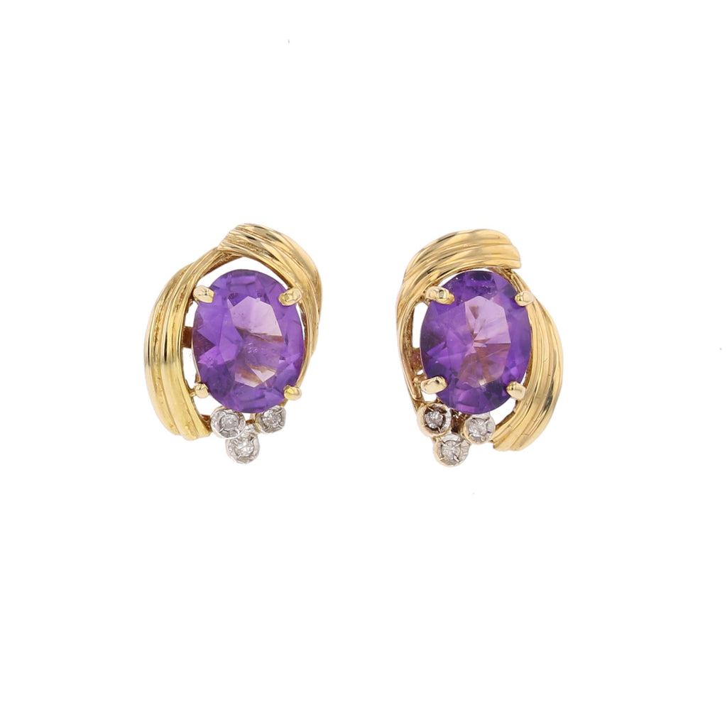 Amethyst &  Diamond Earrings - David's Antiques & Jewelry