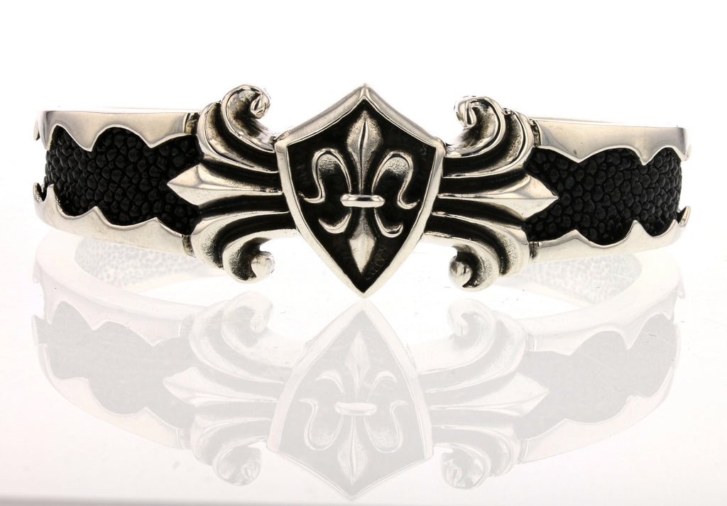 Stingray Leather Fleur De Lis Cuff
