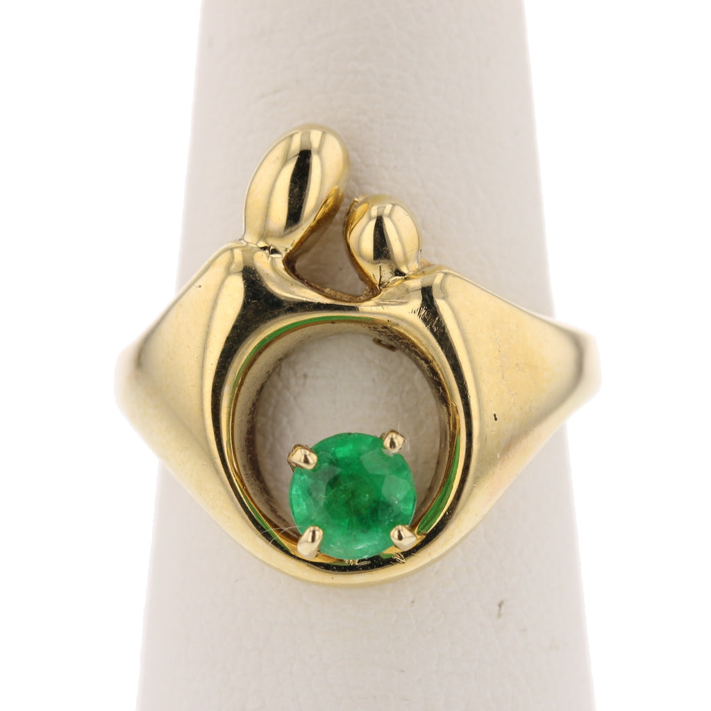 Mother & Child Emerald Ring