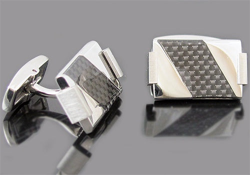 Black Carbon Middle Cufflinks - David's Antiques & Jewelry