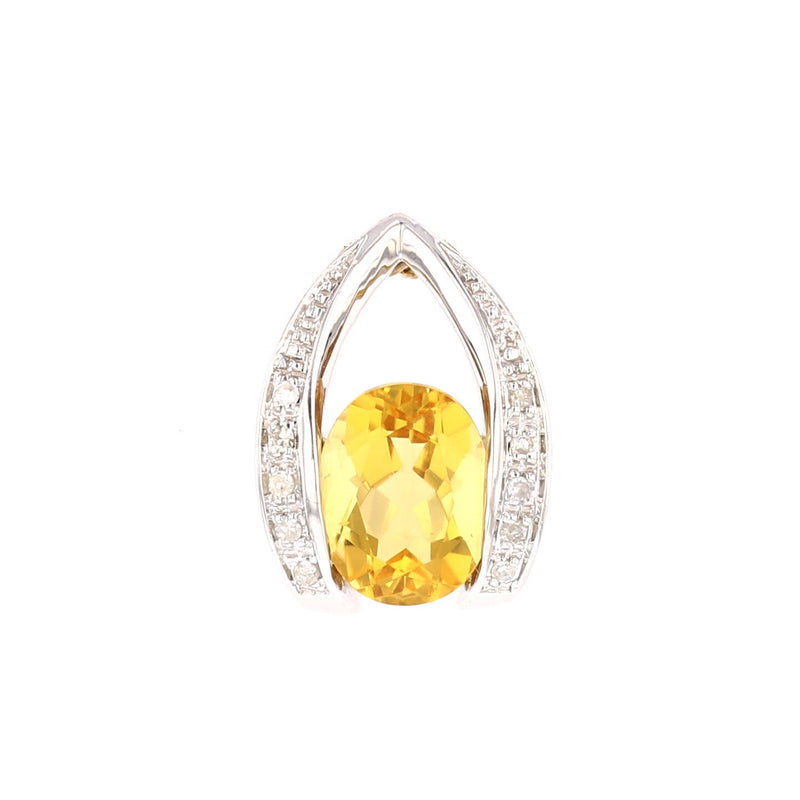 Citrine & Diamond   Pendant - David's Antiques & Jewelry