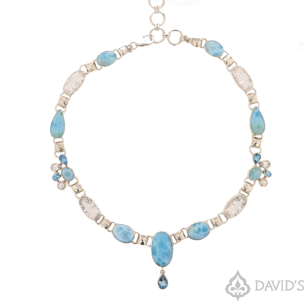 Larimar, Topaz & Quartz Necklace