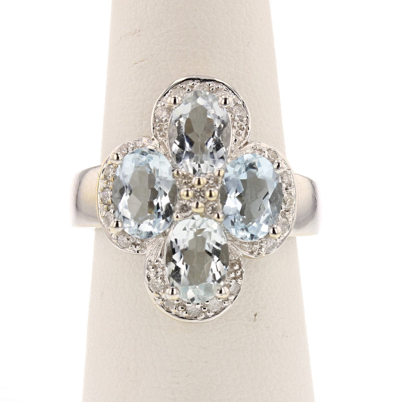 Aquamarine Clover Ring - David's Antiques & Jewelry
