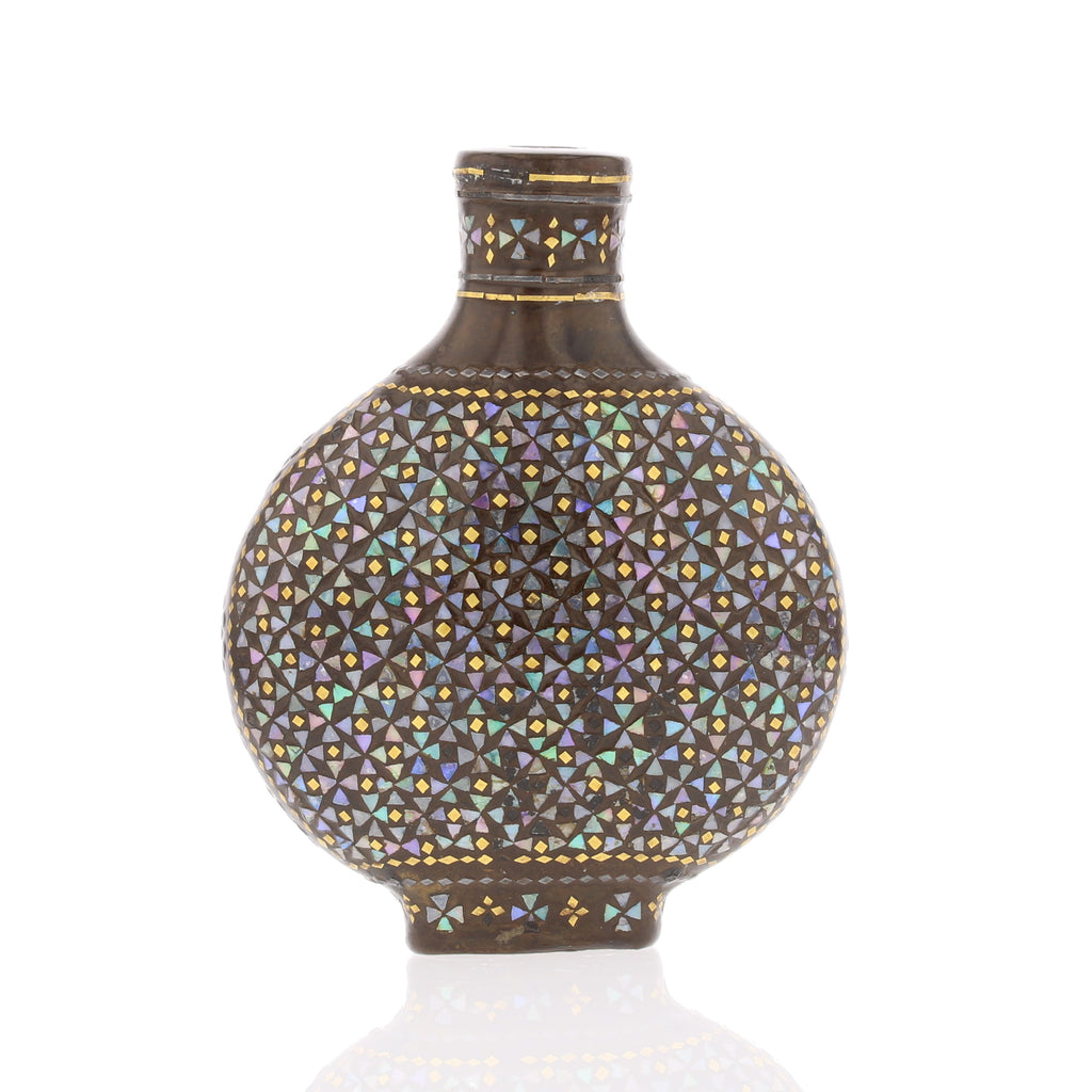 LACQUER  MOTHER OF PEARL INLAID SNUFF BOTTLE 4