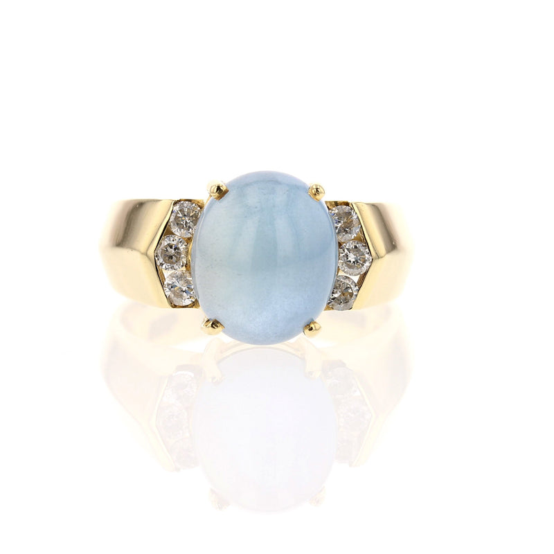 Cabochon Aqua Ring - David's Antiques & Jewelry