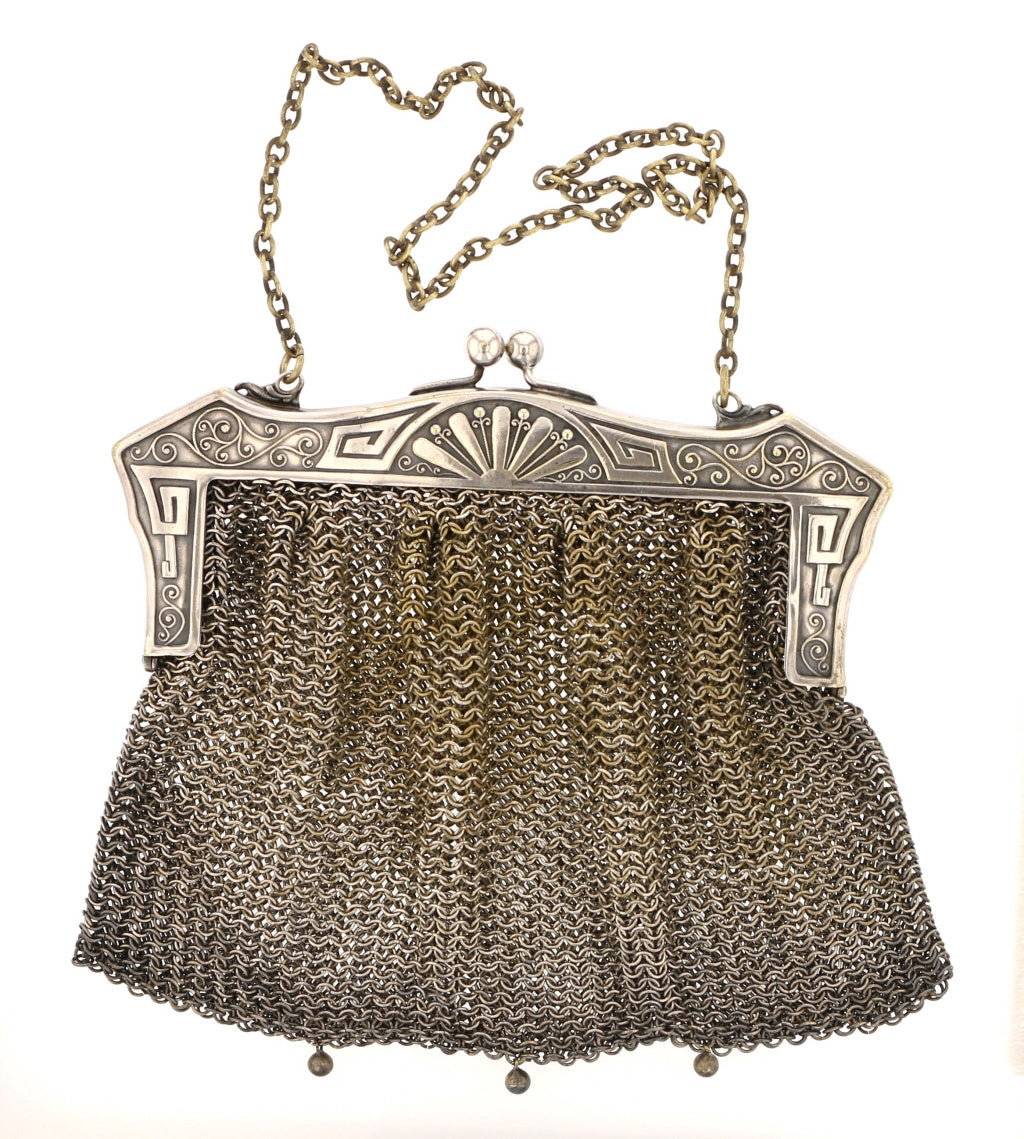 Antique Art Nouveau German Silver Mesh Purse - David's Antiques & Jewelry