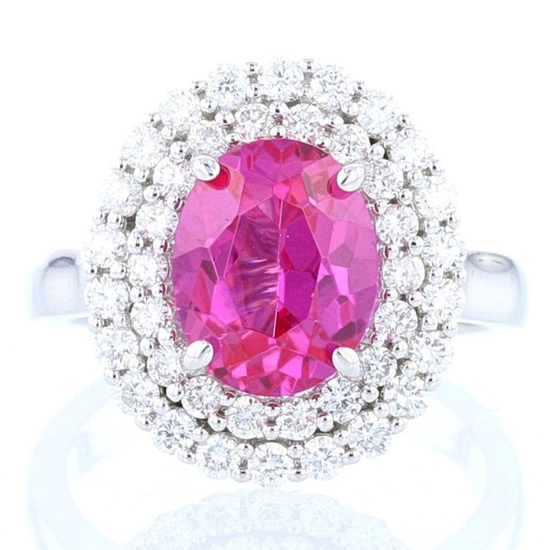Pink Sapphire with Double Halo Ring