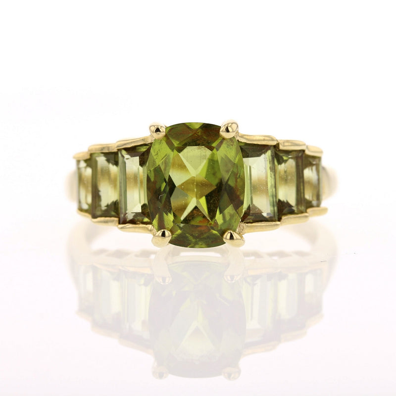 Cushion Cut Peridot Ring - David's Antiques & Jewelry