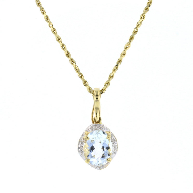Oval Aqua and Diamonds Pendant