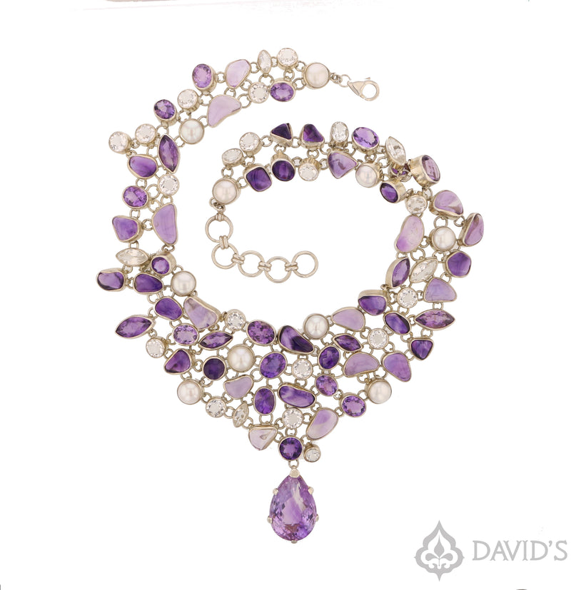 Amethyst, Pearl &  Quartz Necklace