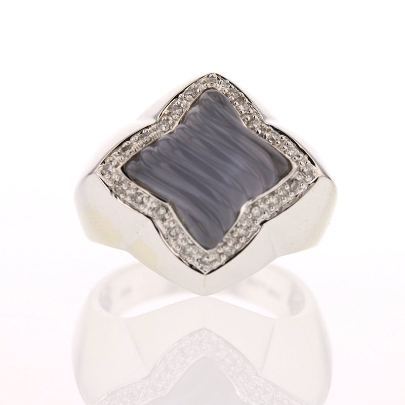 Vintage Chalcedony, Diamond Ring