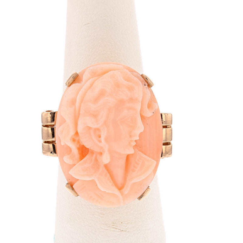 Coral Cameo Ring - David's Antiques & Jewelry