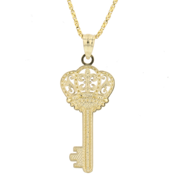 2 Tone FDL Crown Key Pendant