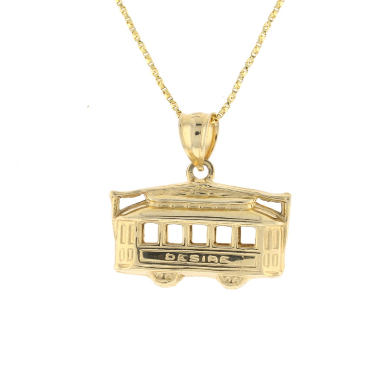Big 3D 14K Gold Streetcar Pendant Double Sided