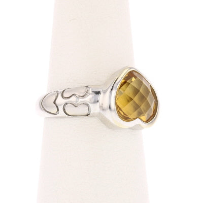 Pineapple Cut Heart Citrine Ring