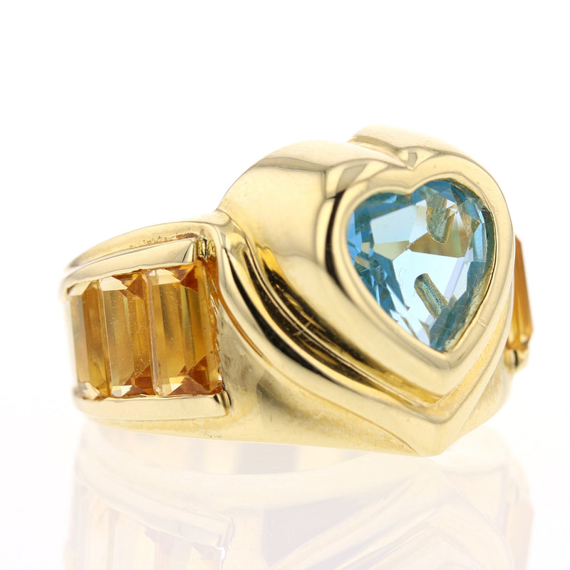 Blue Topaz Citrine Ring - David's Antiques & Jewelry