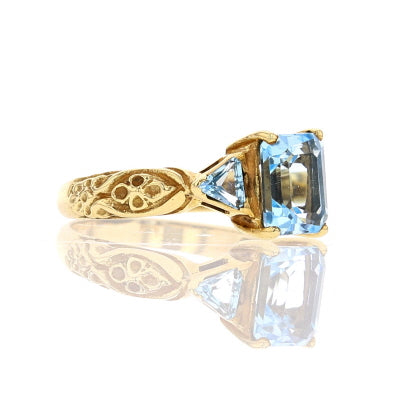 Antique Blue Topaz Ring - David's Antiques & Jewelry