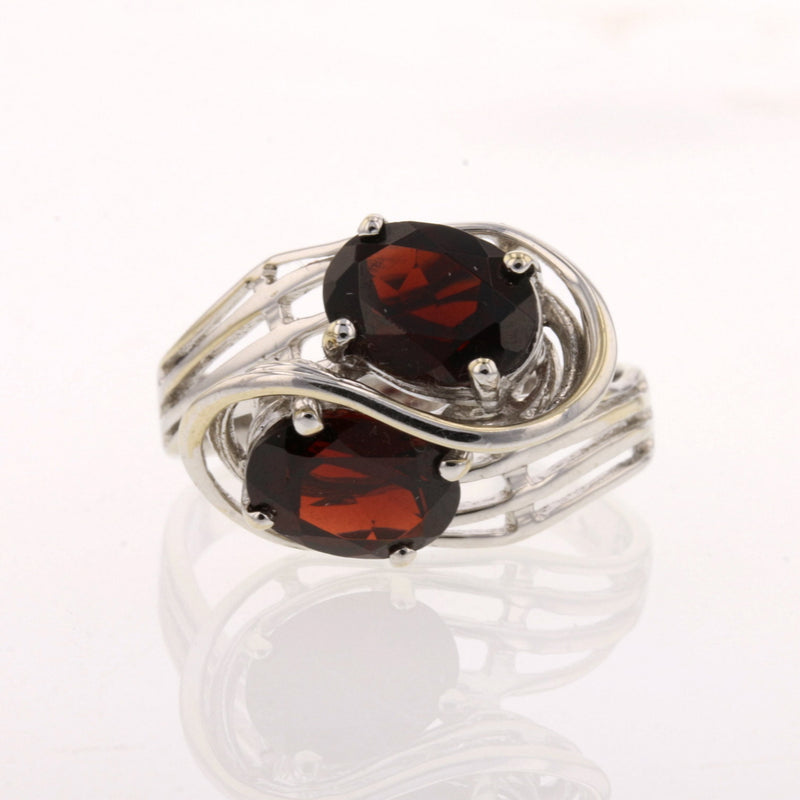 Double Garnet Swirl Ring