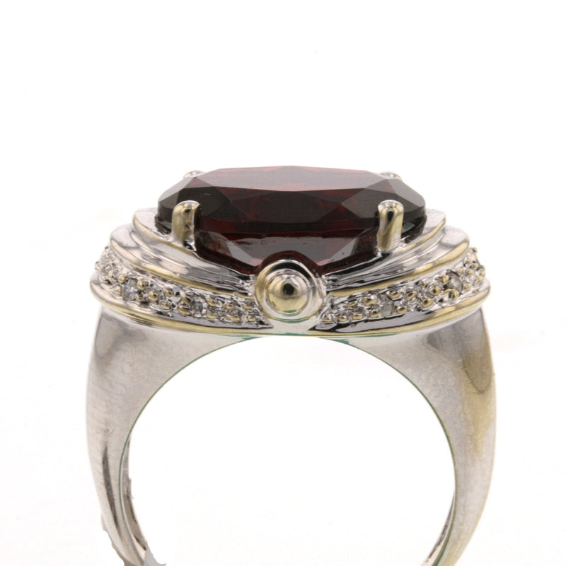 Rhodolite Garnet, Diamond Ring