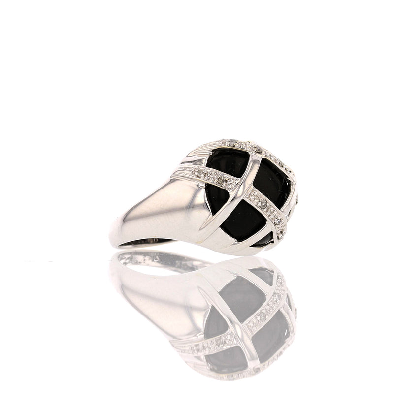 Criss-Cross Onyx   Ring - David's Antiques & Jewelry