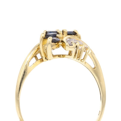 Blue Sapphire & Diamonds Ring - David's Antiques & Jewelry