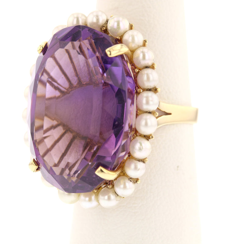Amethyst & Pearls Ring - David's Antiques & Jewelry
