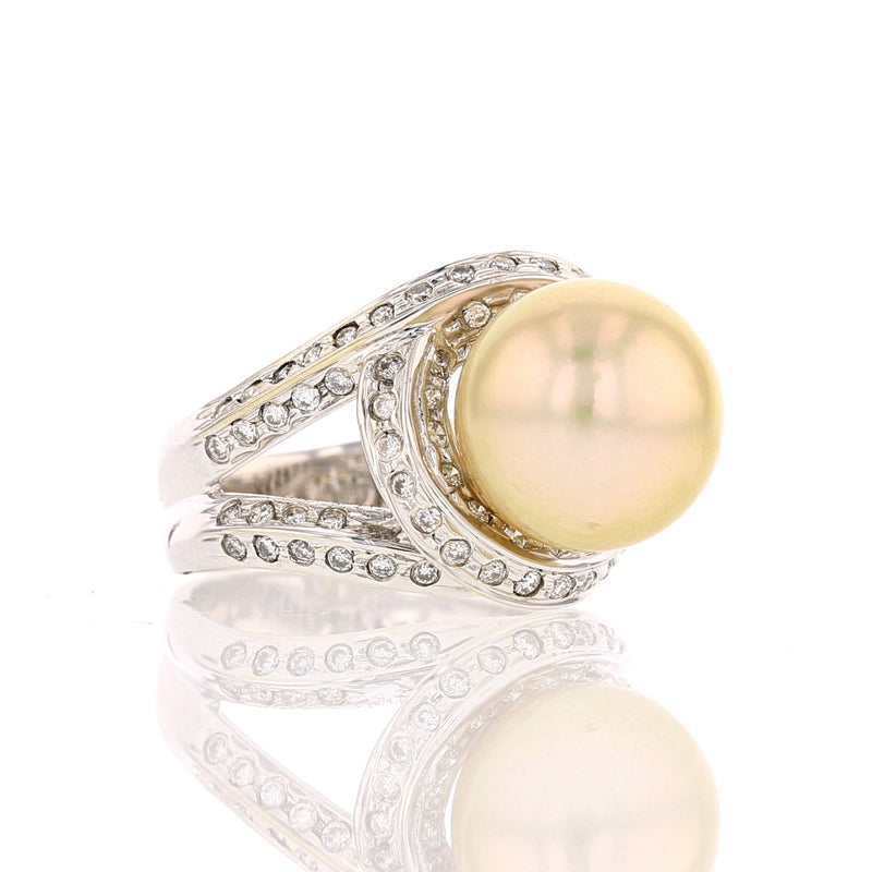 Gold Pearl & Diamond Ring