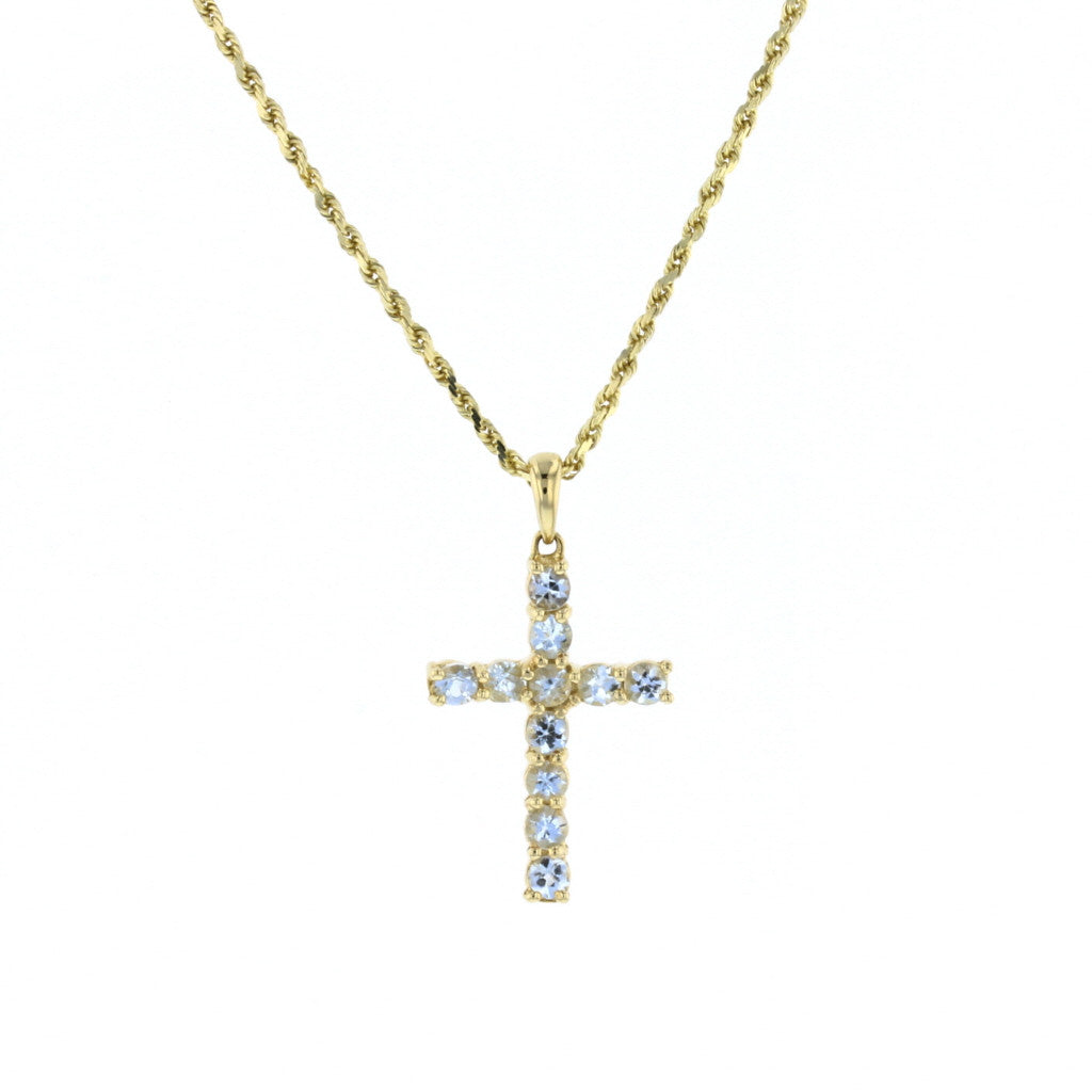 Aquamarine Cross Pendant - David's Antiques & Jewelry