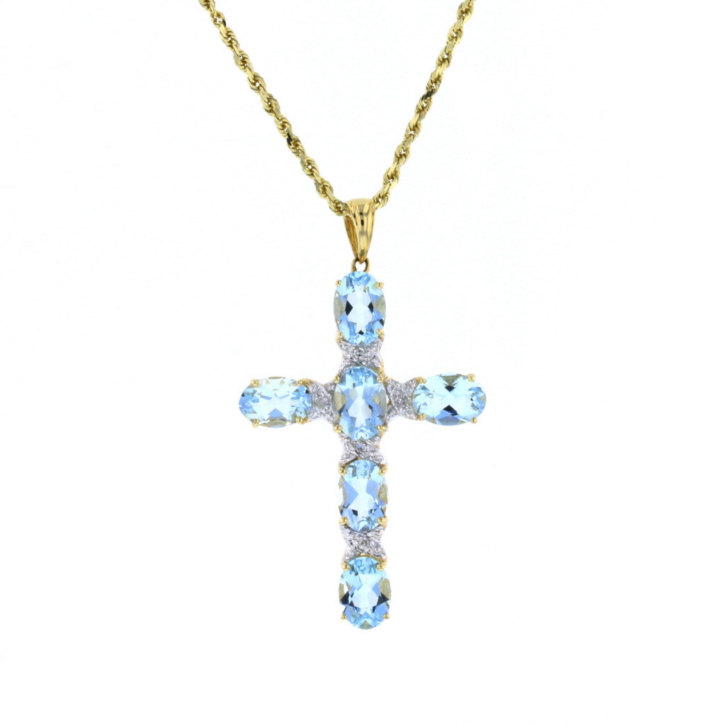 Aqua Cross - David's Antiques & Jewelry