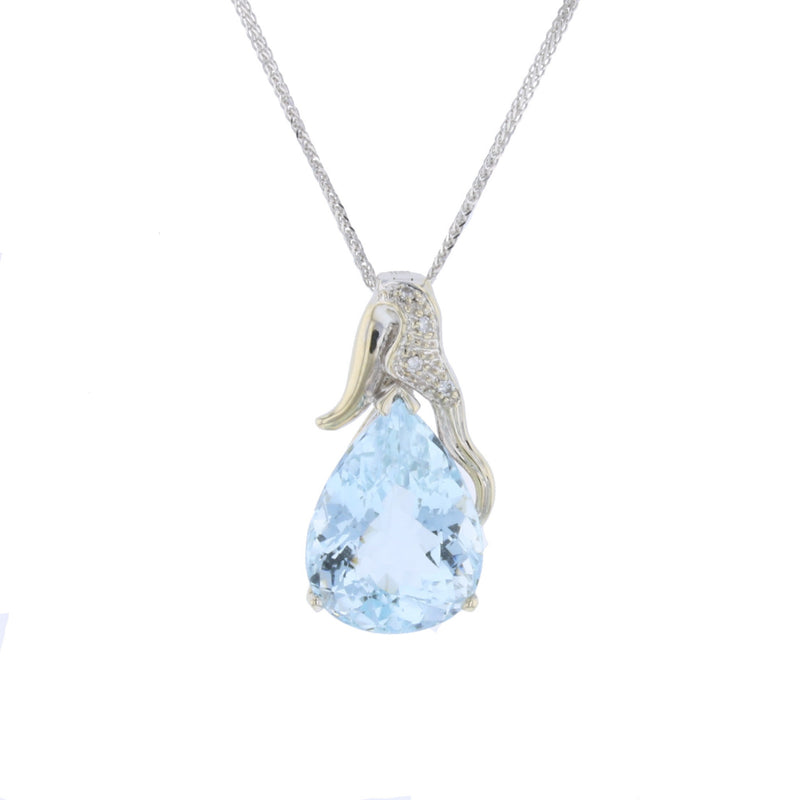 Pear Aqua White Gold
