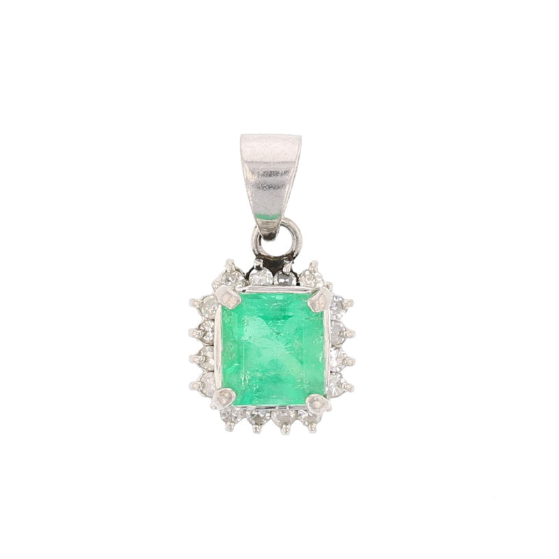 Platinum 900 Emerald & Diamond Pendant