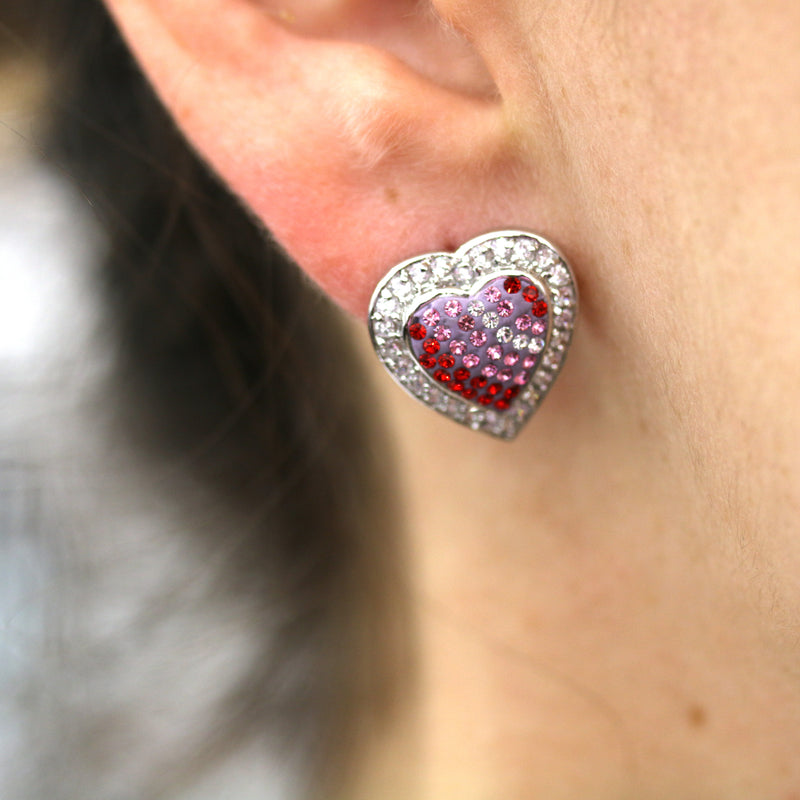 Crystal Heart Stud Earrings - David's Antiques & Jewelry