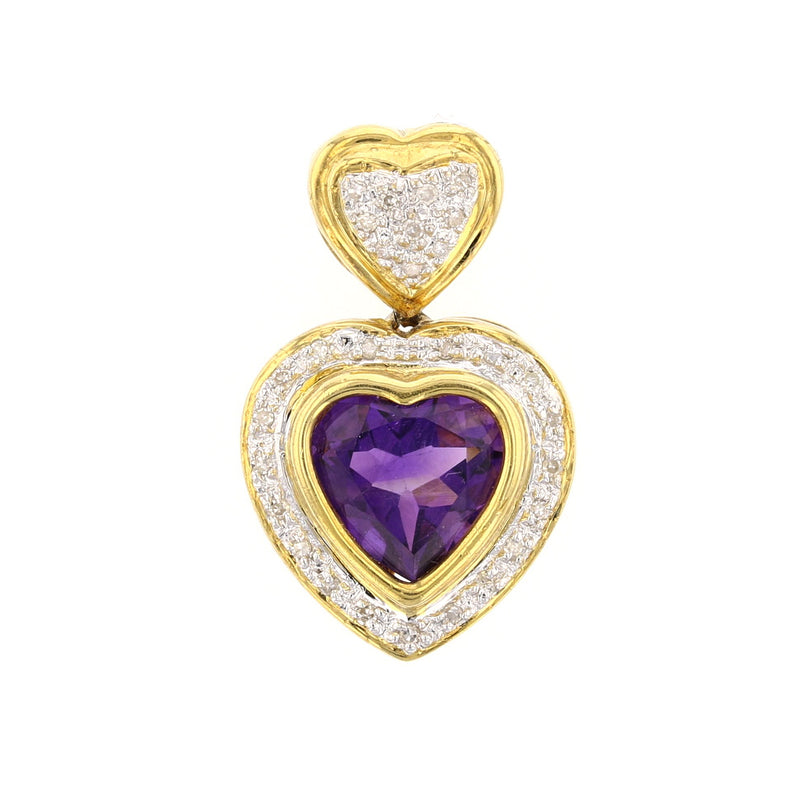 Amethyst & Diamonds Heart - David's Antiques & Jewelry